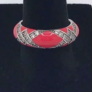 Hildago 925 Sterling Silver Enamel CZ Ring